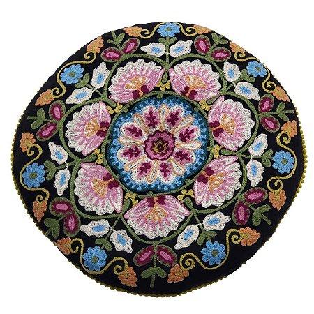Almofada para Meditação Bordada Redonda Preta Colorido 40cm