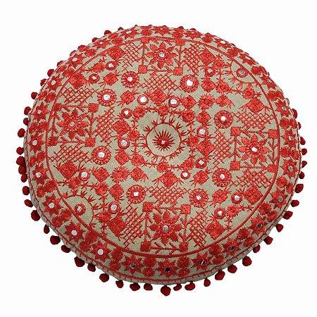 Almofada para Meditação Bordada Redonda Bege com Vermelho e Espelhos 40cm