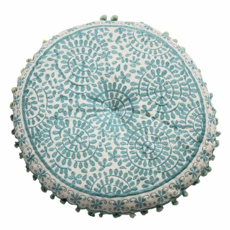 Almofada para Meditação Bordada Redonda Branca com Azul 40cm