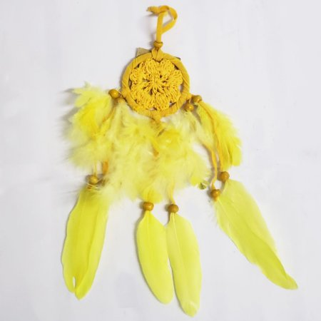 Filtro dos Sonhos de Crochê e Veludo Amarelo 7cm