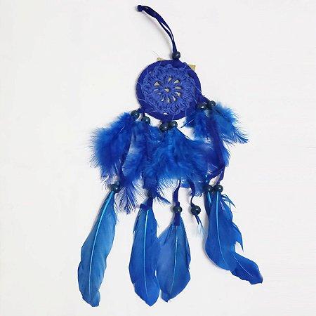 Filtro dos Sonhos de Crochê e Veludo Azul Royal 7cm