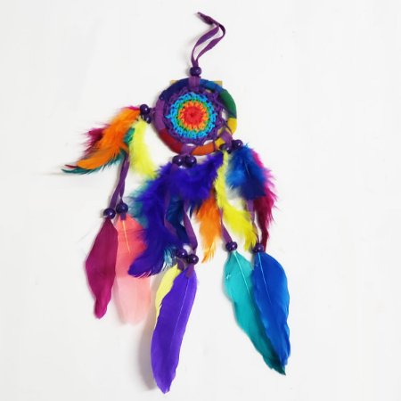 Filtro dos Sonhos de Crochê e Veludo Colorido 7cm