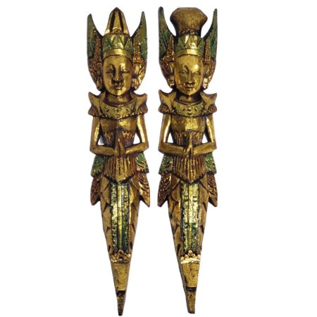 Escultura Rama e Sita de Madeira Balsa Dourado e Verde 50cm
