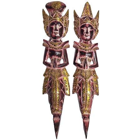 Escultura Rama e Sita de Madeira Balsa Vermelho Dourado 50cm