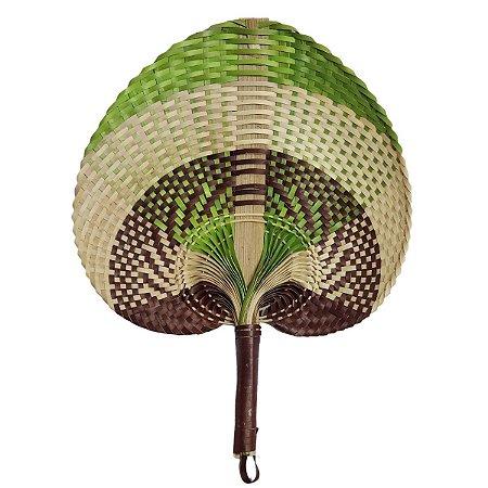 Leque Abano de Palha Marrom e Verde 28cm