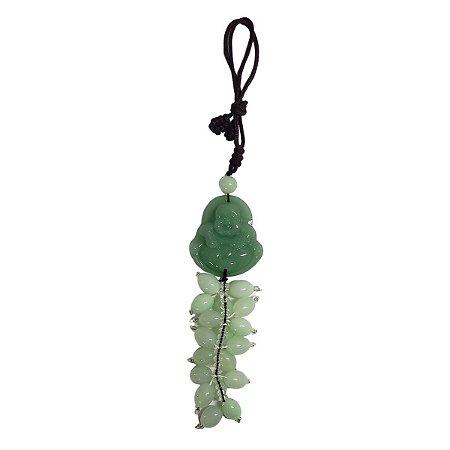 Móbile Buda Hotei de Quartzo Verde 30cm