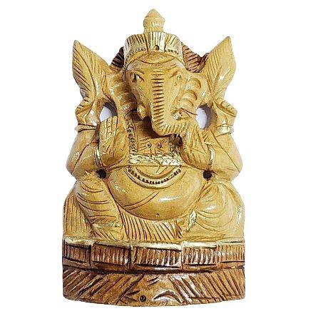 Estátua de Ganesha Madeira Crua 17cm