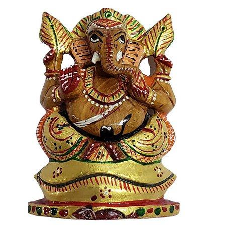 Estátua de Ganesha Pintado de Madeira 10cm