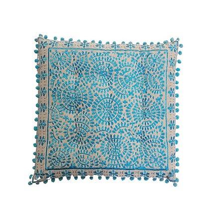 Almofada Futon Bordada Quadrada Bege e Azul 40cmx40cm