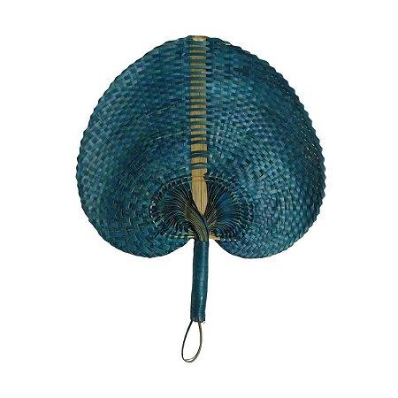 Leque Abano de Palha Azul Turquesa 35cm