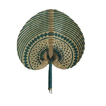 Leque Abano de Palha Cru c/ Azul Turquesa 35cm