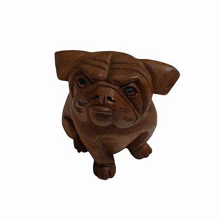 Escultura Bulldog Sentado Madeira Suar 10cm