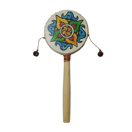 Tamboran Cru Flor Tribal Madeira e Couro Sint. 20cm