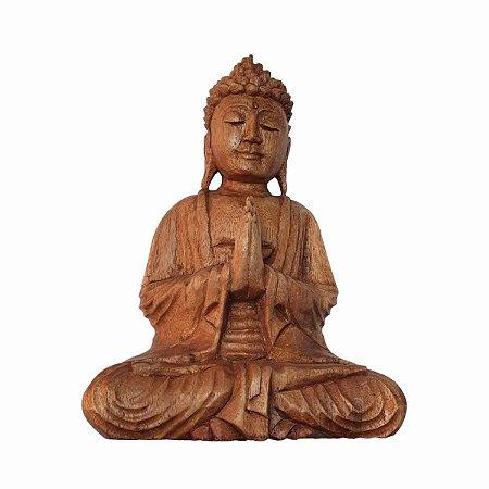 Estátua de Buda Sidarta de Madeira Suar Mudra Oração 25cm