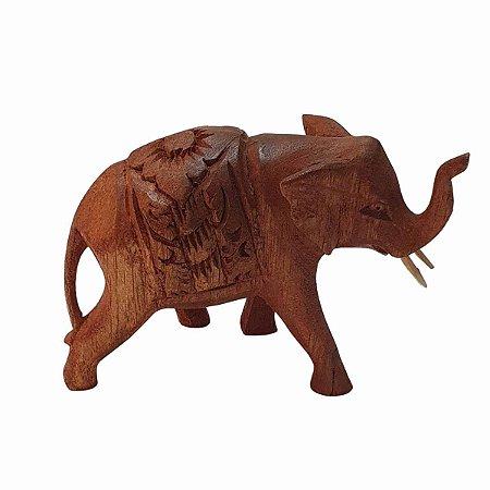 Elefante Entalhado Madeira Suar 20cm