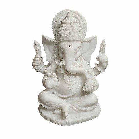 Estátua de Mini Ganesha Pó de Mármore com Base 9cm