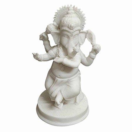 Estátua de Mini Ganesha Pó de Mármore Dançarino 12cm