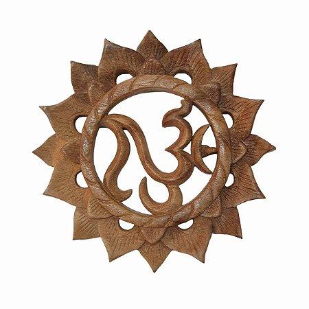Mandala OM Flor de Lótus Madeira Suar Clara 20cm