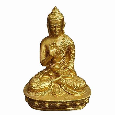 Estátua de Buda Mudra Proteção Pó de Mármore Dourado 13cm