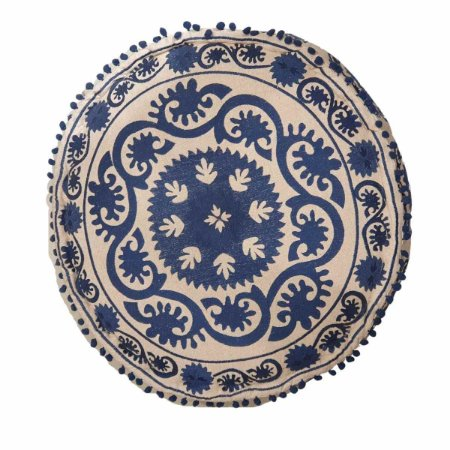 Pufe Bordado Redondo Areia e Azul 60cm