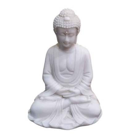 Estátua de Buda Mudra Meditação Pó de Mármore 11,5cm