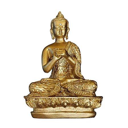 Estátua de Buda Mudra Dharma Pó de Mármore Dourado 13cm