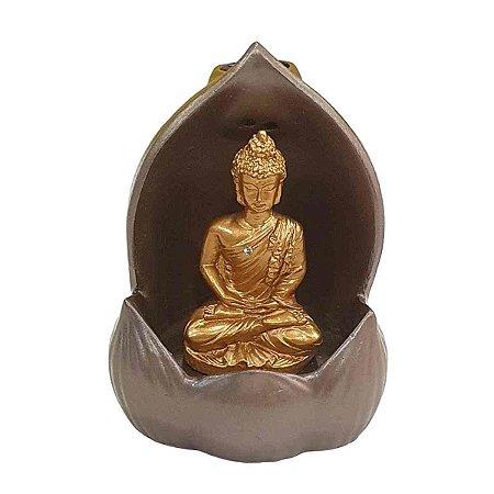 Incensário Cascata Resina Buda 10cm