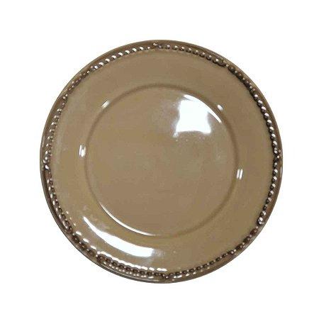 Prato Suspenso p/ Bolos/Doces Redondo de Cerâmica Bege 20cm
