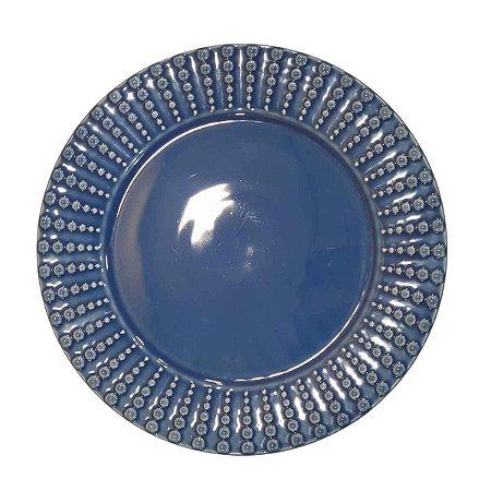 Prato Suspenso p/ Bolos/Doces Redondo de Cerâmica Azul (Modelo 1) 28cm
