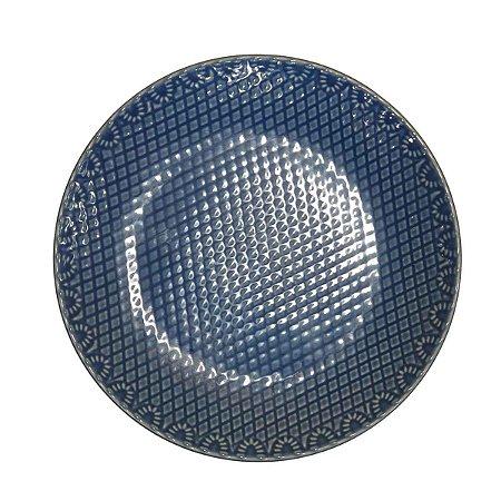 Prato Suspenso p/ Bolos/Doces Redondo de Cerâmica Azul (Modelo 2) 28cm
