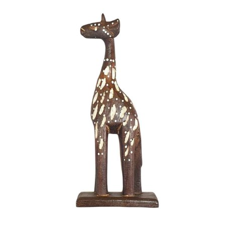 Girafa Entalhada de Madeira Balsa 25cm