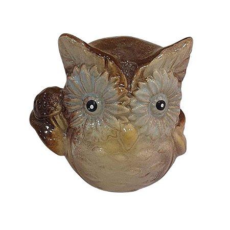 Coruja de Cerâmica Marrom 6cm