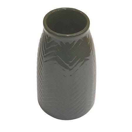 Vaso de Cerâmica Comprido Verde 22cm