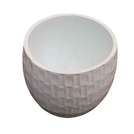 Vaso de Cerâmica Redondo Branco 13cm