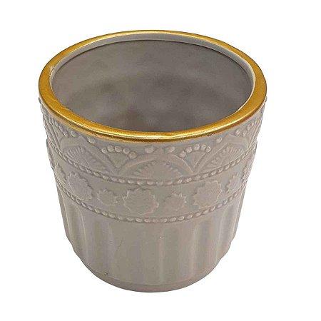 Vaso de Cerâmica Arabesque Cinza 13cm