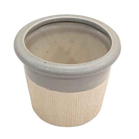 Vaso de Cerâmica Texturizado com Cinza 10cm