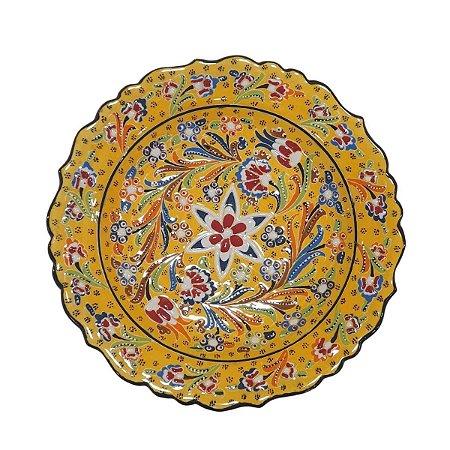 Prato Turco Pintado de Cerâmica (Modelo 1) 30cm