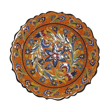 Prato Turco Pintado de Cerâmica (Modelo 2) 30cm
