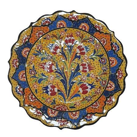 Prato Turco Pintado de Cerâmica (Modelo 4) 30cm