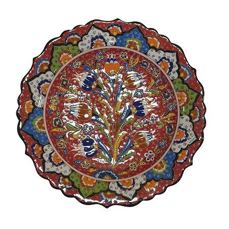 Prato Turco Pintado de Cerâmica (Modelo 6) 30cm