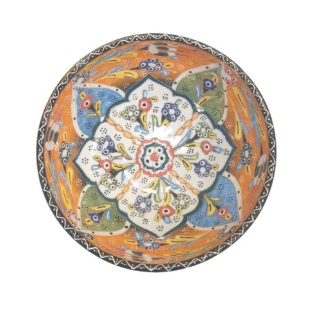 Bowl Turco Pintado de Cerâmica Laranja Estampado 16cm (Pinturas Diversas)