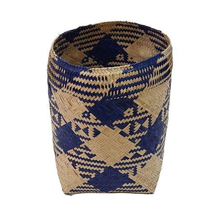 Cesto de Palha Cru com Azul 20cm