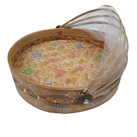 Cesto de Pão Bambu Redondo Largo Cru 30cm (Cores Variadas)