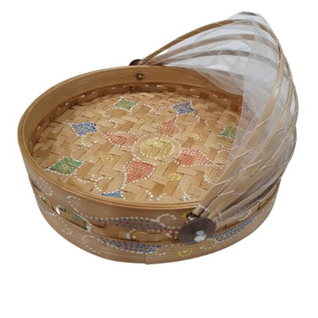 Cesto de Pão Bambu Redondo Largo Cru 35cm (Cores Variadas)