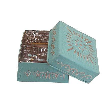 Caixa Decorativa Quadrada de Alumínio Verde 8cm