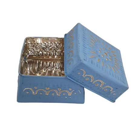 Caixa Decorativa Quadrada de Alumínio Azul 12cm