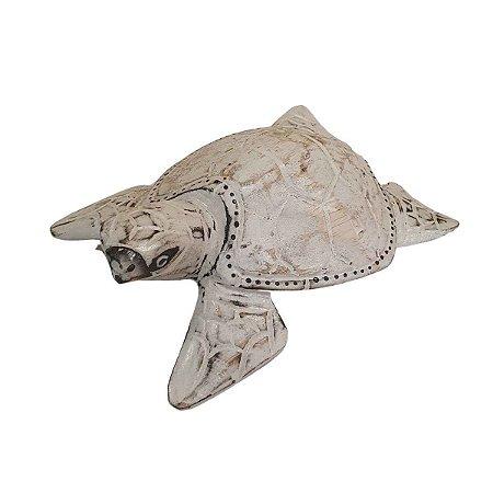 Tartaruga Decorativa Madeira Balsa Branca 16cm