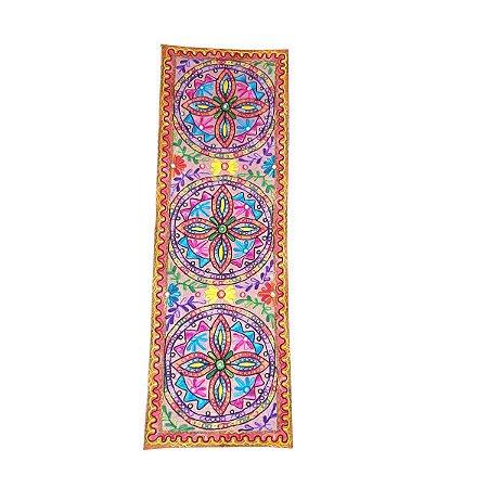 Panô Indiano Bordado de Flores Colorido 100% Algodão (modelo 5)