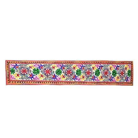 Panô Indiano Bordado de Flores Vermelho 100% Algodão (modelo 10)