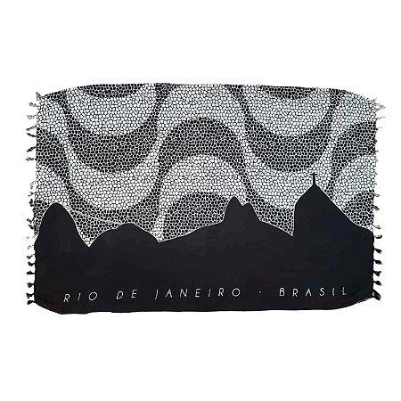 Canga de Praia 100% Viscose - Rio e Calçadão 1,60mx1,10m
